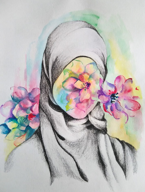 Under the Hijab Is..., artwork by Shilpa Paramesh
