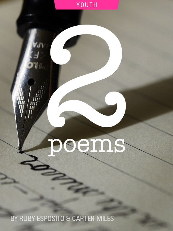 2 poems, photograph of pen by Aaron Burden