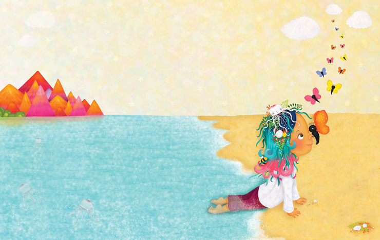 Illustration of girl lying at the ocean's edge at the beach, by Sarah Jane Hinder