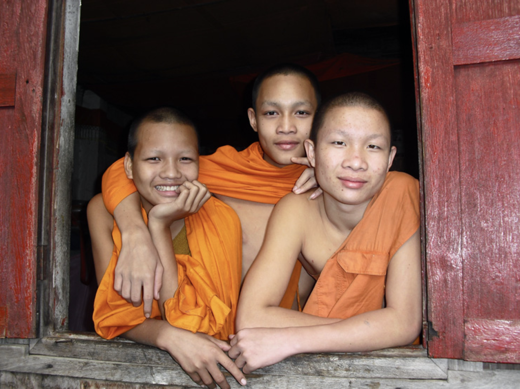 Photograph of Buddhist novices by Tom Mattson